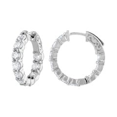 4.10 Carat Inside Out Diamond Hoop Earrings, 0.20 Carat Each