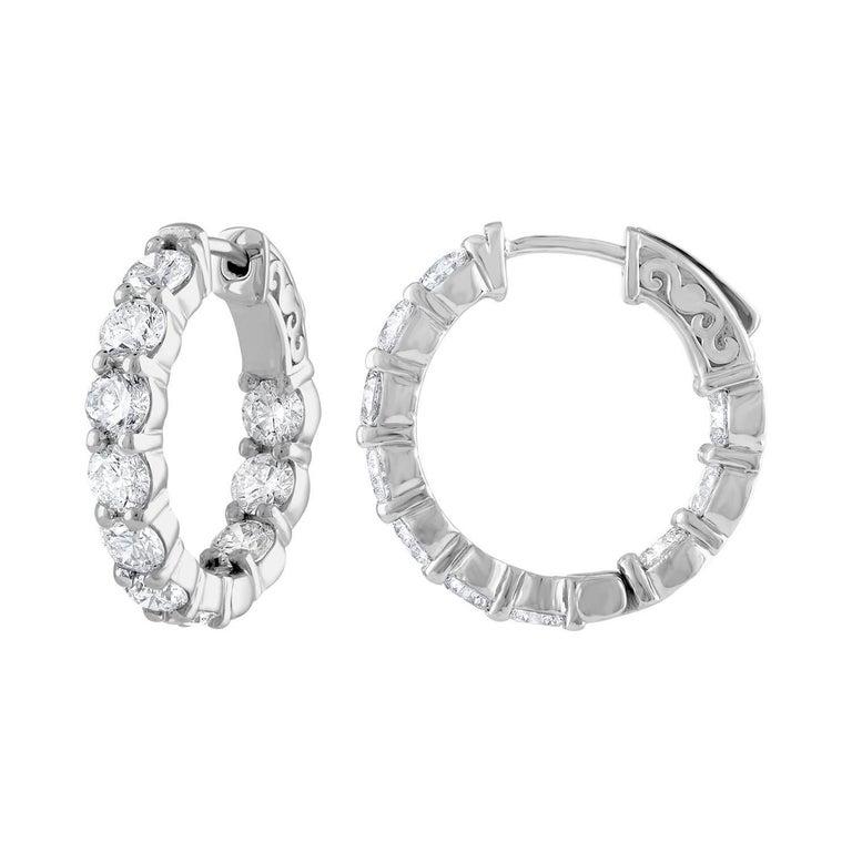 4 10 Carat Inside Out Diamond Hoop Earrings 0 20 Each For