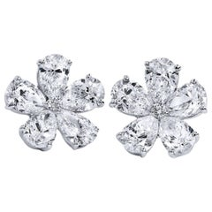 4.10 Flower-Shaped Pear and Round Diamond Stud Earrings