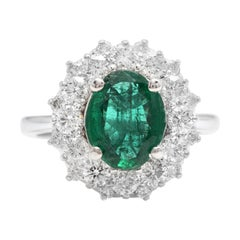4.10ct Natural Emerald & Diamond 18k Solid White Gold Ring
