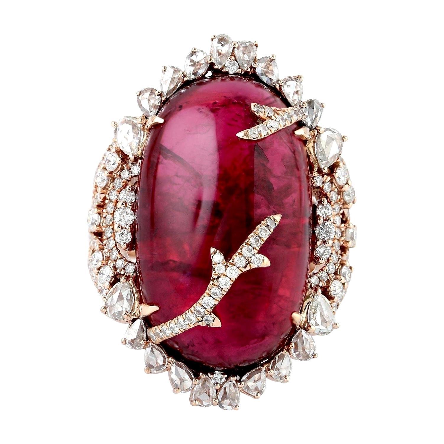 41.19 Carat Rubellite Diamond 18 Karat Gold Ring