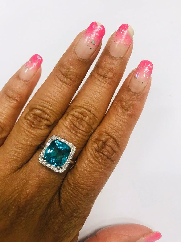 Modern 4.12 Carat Apatite Diamond 14 Karat White Gold Engagement Ring For Sale