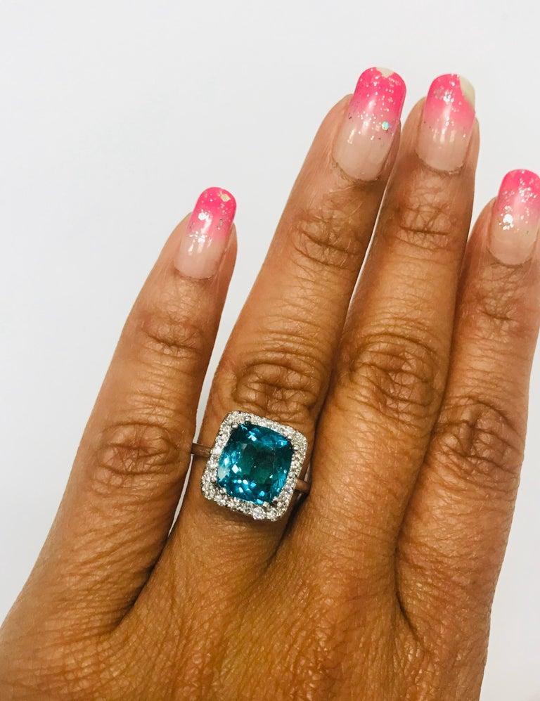 Cushion Cut 4.12 Carat Apatite Diamond 14 Karat White Gold Engagement Ring For Sale