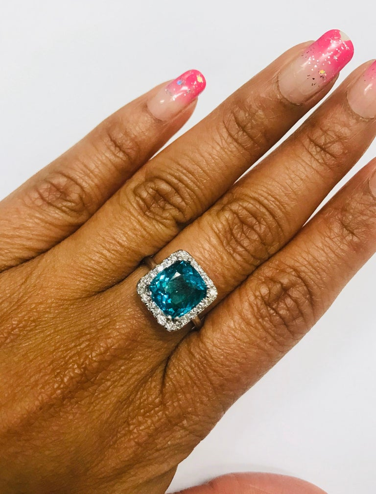 4.12 Carat Apatite Diamond 14 Karat White Gold Engagement Ring In New Condition For Sale In San Dimas, CA