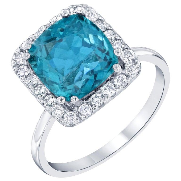 4.12 Carat Apatite Diamond 14 Karat White Gold Engagement Ring For Sale