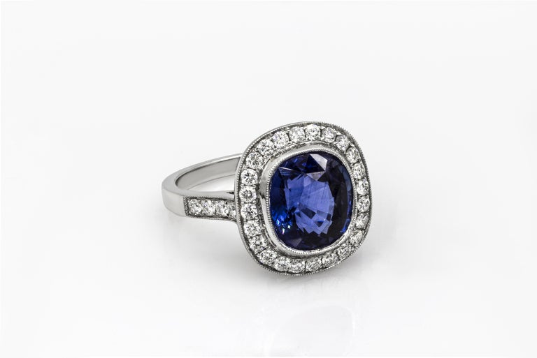 Roman Malakov Cushion Cut Royal Blue Sapphire and Diamond Halo Engagement Ring In New Condition For Sale In New York, NY