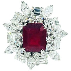 4.12 Carat Emerald Cut Ruby with Diamonds 18 Karat