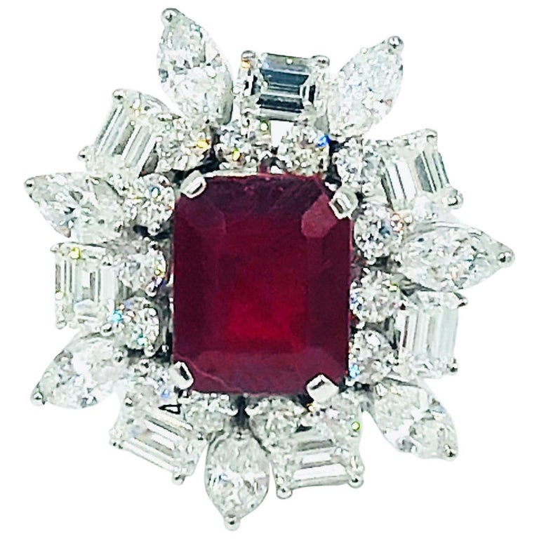 Emerald Cut Ruby 4.12 Carat Ring With Diamonds 3.44 Carats 18K White Gold For Sale