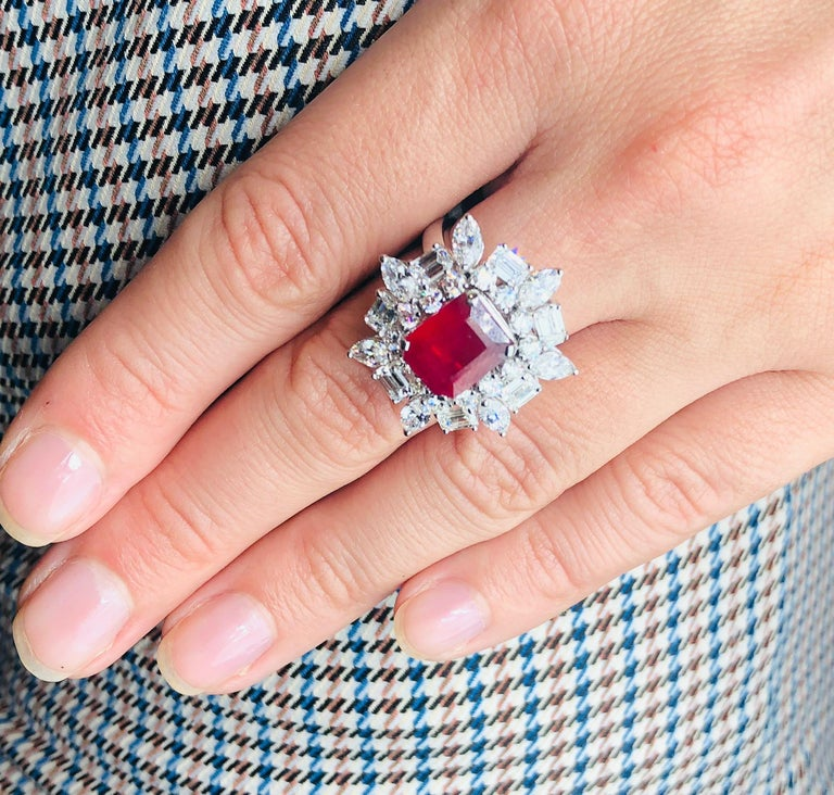 Modern Emerald Cut Ruby 4.12 Carat Ring With Diamonds 3.44 Carats 18K White Gold For Sale