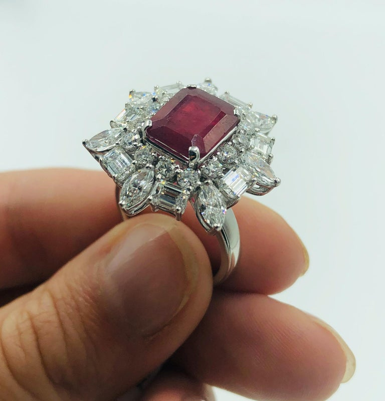 Emerald Cut Ruby 4.12 Carat Ring With Diamonds 3.44 Carats 18K White Gold In Excellent Condition For Sale In Carlsbad, CA