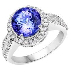 4.12 Carat Genuine Tanzanite and White Diamond 14 Karat White Gold Ring