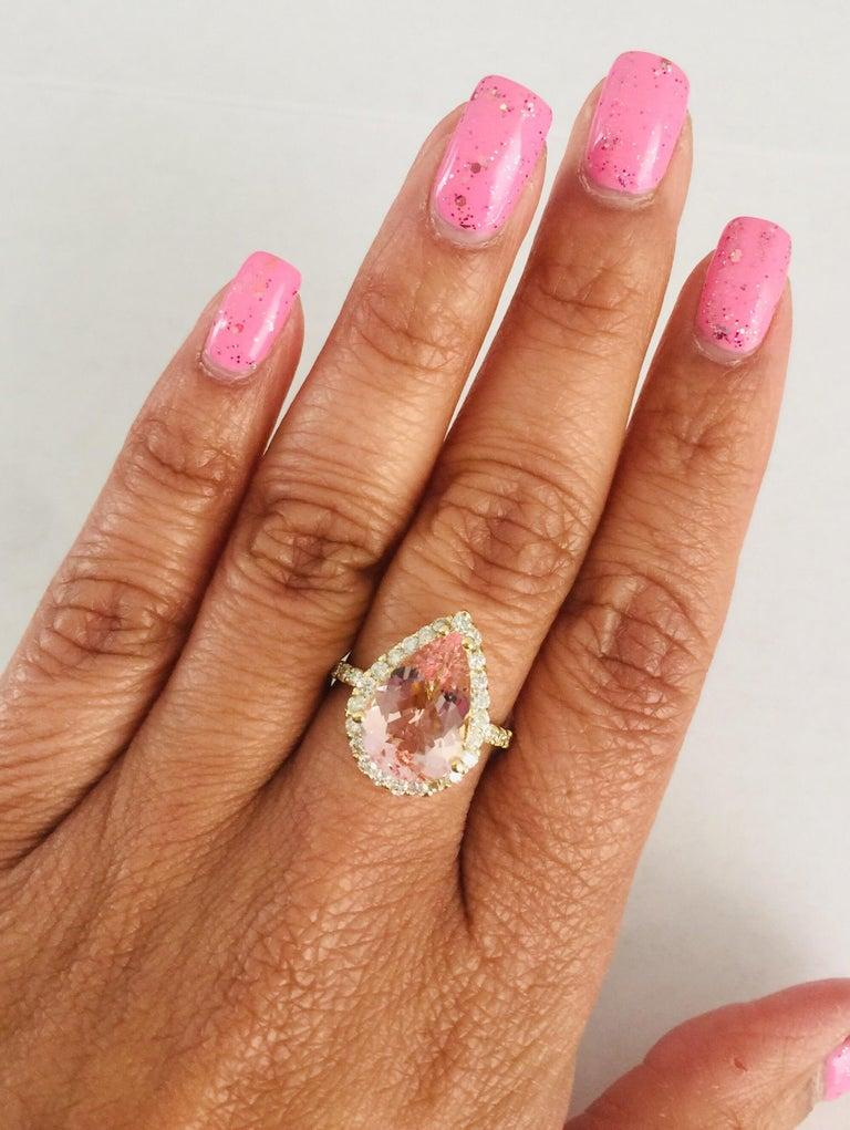 4.12 Carat Morganite Diamond 18 Karat Yellow Gold Engagement Ring In New Condition For Sale In Los Angeles, CA