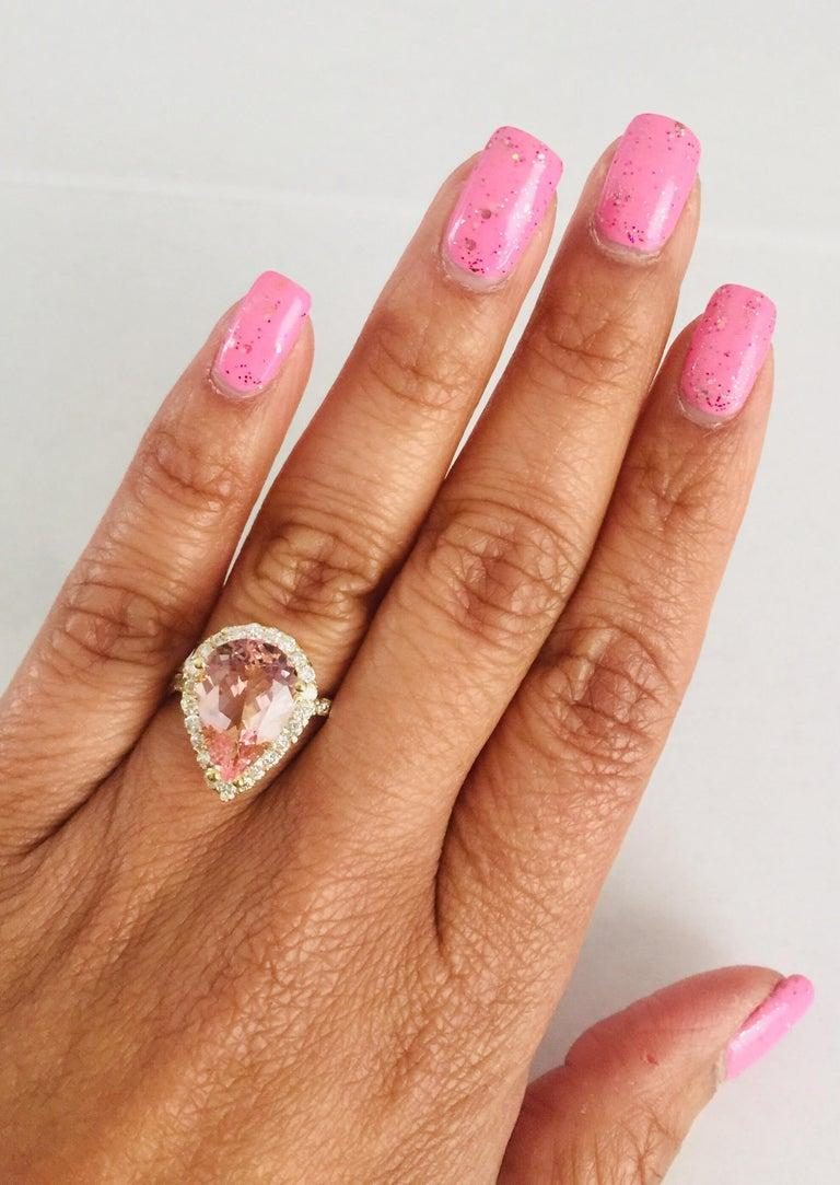 Women's 4.12 Carat Morganite Diamond 18 Karat Yellow Gold Engagement Ring For Sale