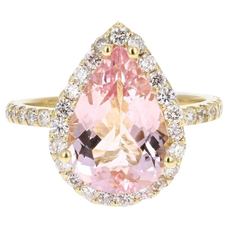4.12 Carat Morganite Diamond 18 Karat Yellow Gold Engagement Ring For Sale