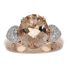 4.12 Carat Morganite Ring with Diamonds in 14 Karat Rose Gold