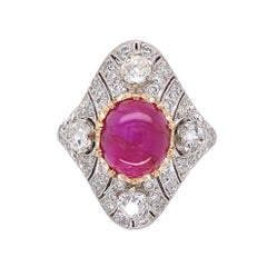 4.12 Carat No Heat Burmese Star Ruby Diamond Platinum Ring Estate Fine Jewelry