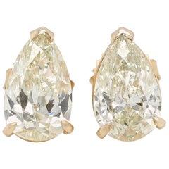 4.12 Carat Pear Shaped Diamonds 14 Karat Gold Stud Earrings