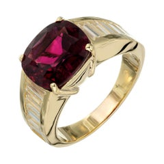 4.12 Carat Pink Tourmaline Diamond Yellow Gold Engagement Ring