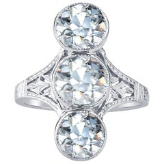 4.12 Carat Total Weight Vintage Engraved Ring with Three European Cut Diamonds