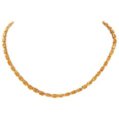 41.25 Carat Natural Citrine 18 Karat Solid Yellow Gold Diamond Necklace