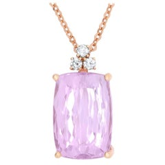 41.26 Carat Cushion Cut Kunzite and 0.48 Carat White Diamond Pendant in Gold