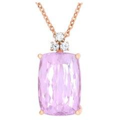 41.26 Carat Cushion Cut Kunzite and 0.48 Carat White Diamond Pendant in Gold