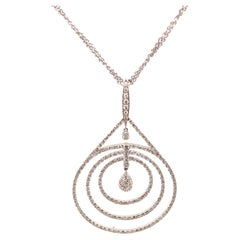 4.12ct Diamond Hoop Pendant Necklace 18k White Gold