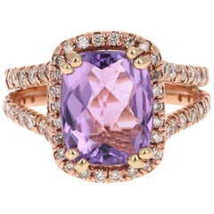 4.13 Carat Amethyst Diamond 14 Karat Rose Gold Ring