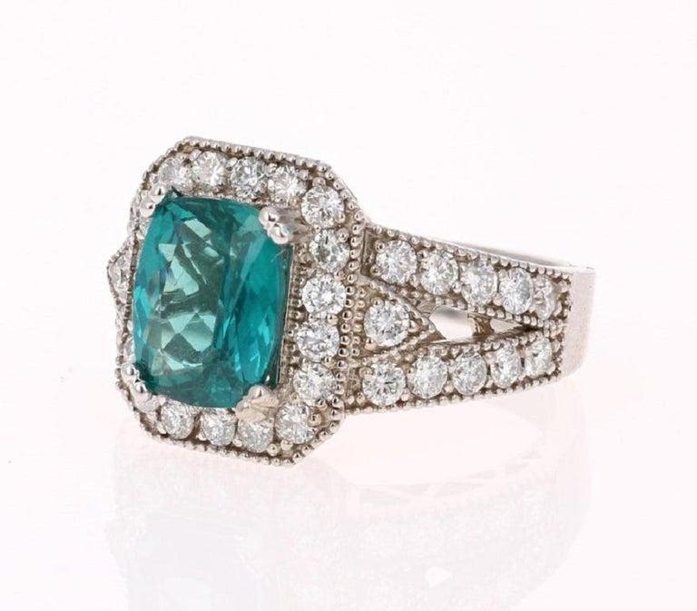 Modern 4.13 Carat Apatite Diamond Ring 14 Karat White Gold Ring For Sale
