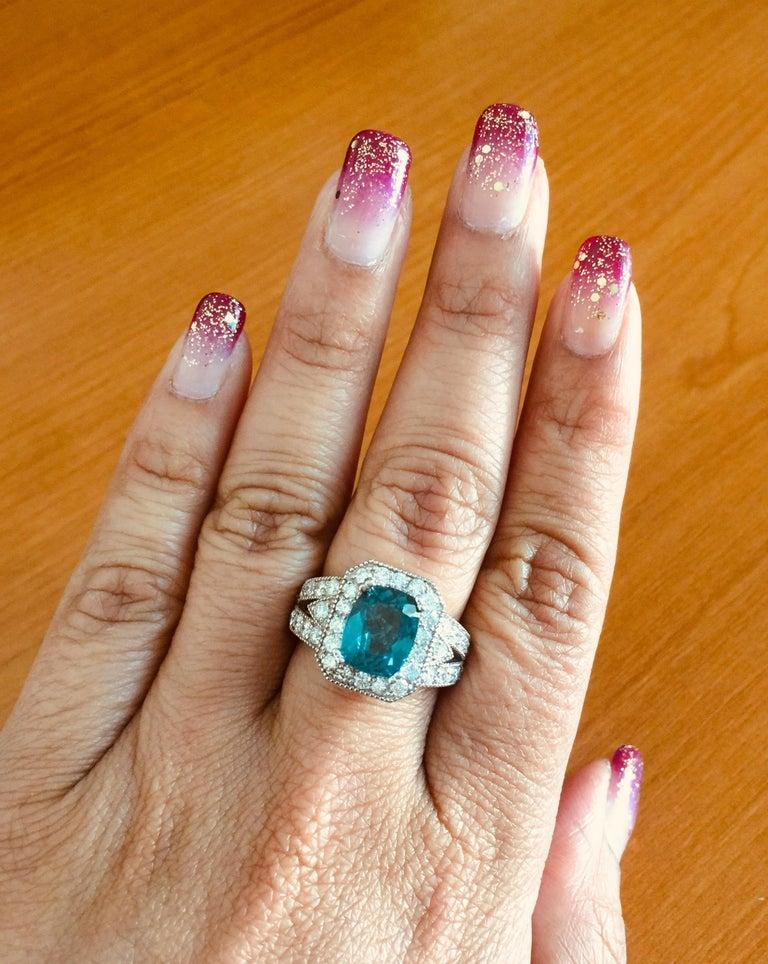 Cushion Cut 4.13 Carat Apatite Diamond Ring 14 Karat White Gold Ring For Sale