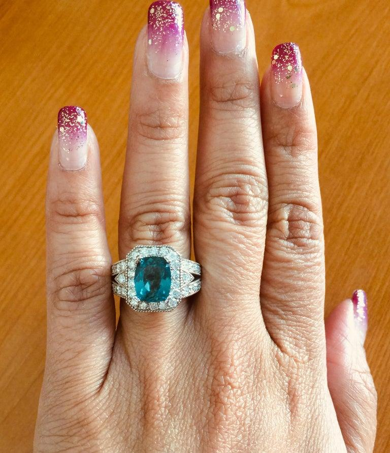 4.13 Carat Apatite Diamond Ring 14 Karat White Gold Ring In New Condition For Sale In Los Angeles, CA