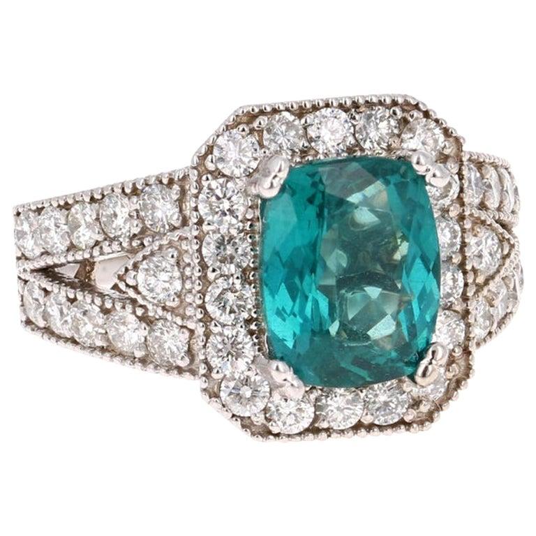 4.13 Carat Apatite Diamond Ring 14 Karat White Gold Ring For Sale