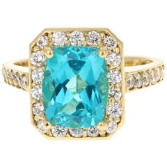 4.13 Carat Cushion Cut Apatite Diamond Ring 18 Karat Yellow Gold Engagement Ring