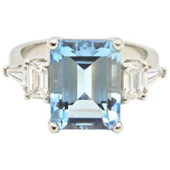 4.13 Carat Emerald Cut Aquamarine and Diamond Platinum Engagement Ring