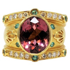 4.13 Carat Etruscan Style 18K Gold Cigar Band Ring Pink Tourmaline and Diamonds