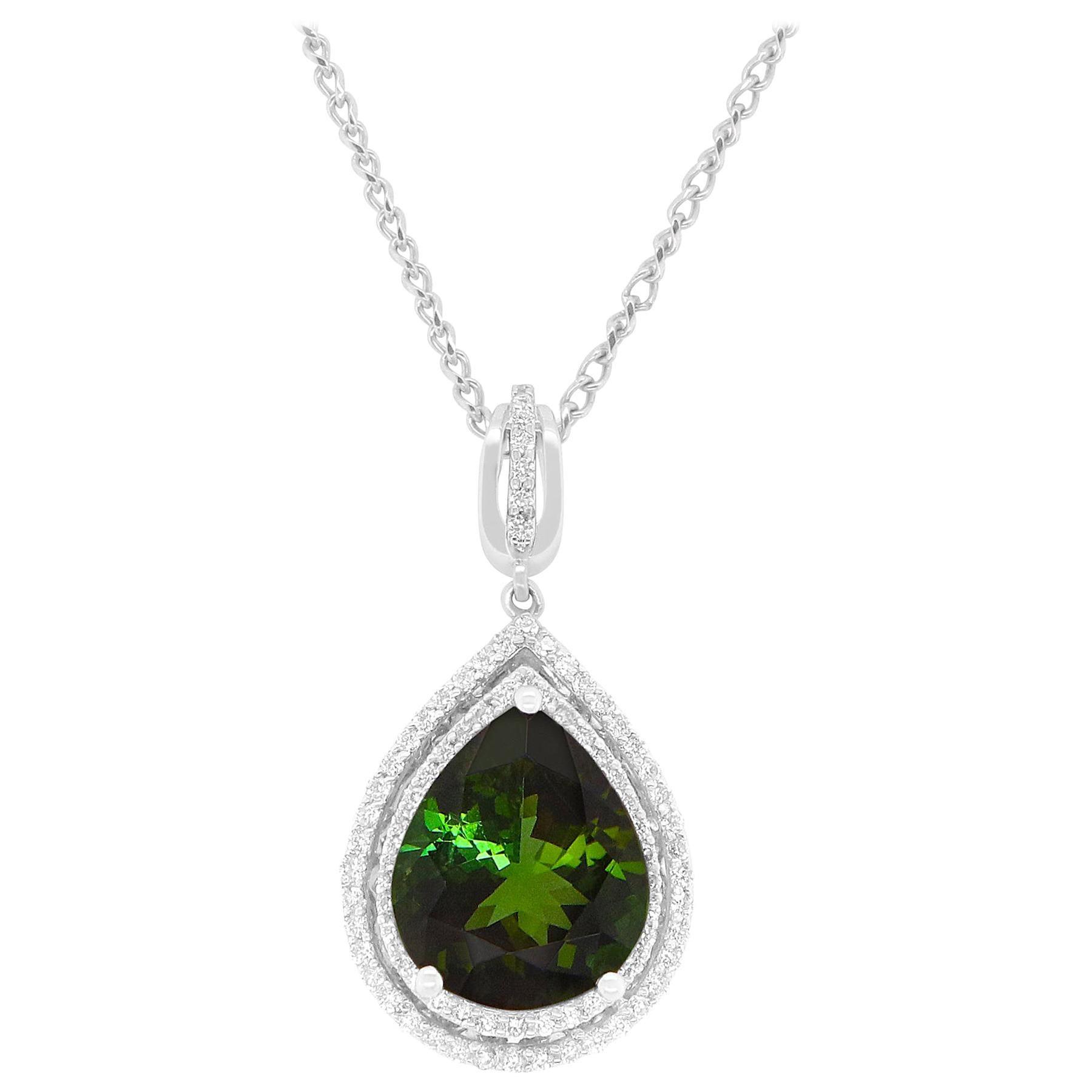4.13 Carat Green Tourmaline and White Diamond Halo Pendant 14 Karat White Gold