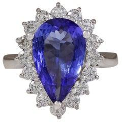 4.13 Carat Natural Tanzanite 18 Karat White Gold Diamond Ring