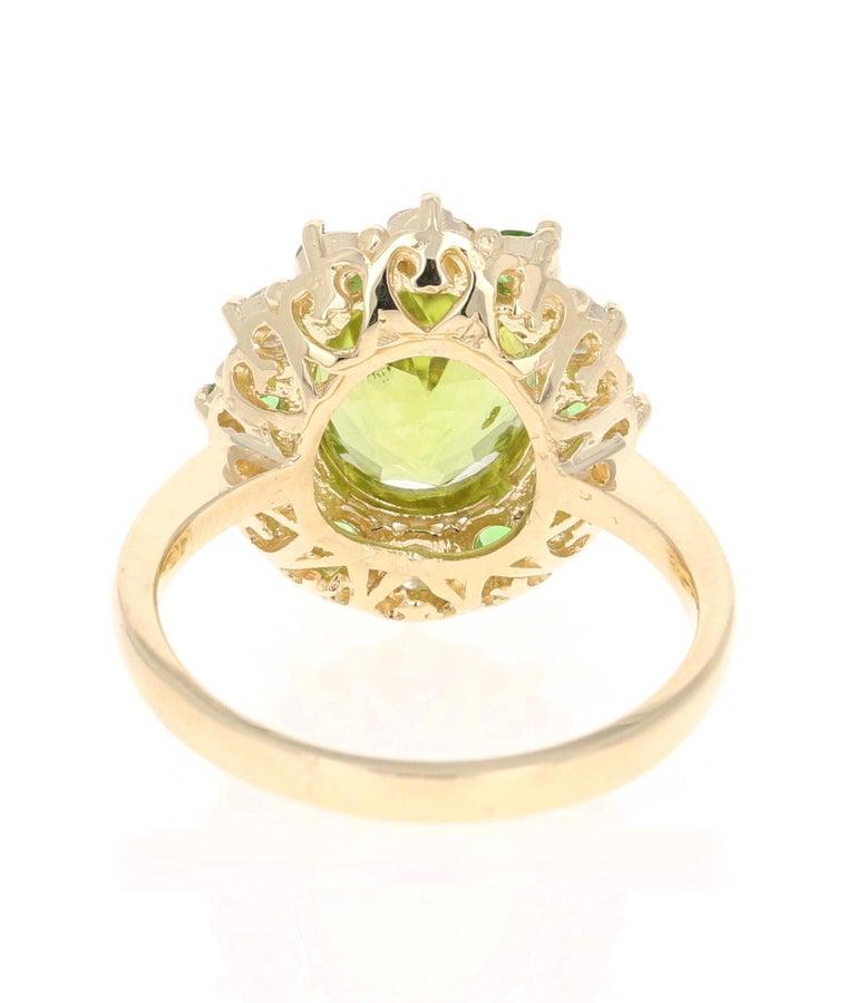 Oval Cut 4.13 Carat Peridot Diamond Tsavorite 14 Karat Yellow Gold Engagement Ring