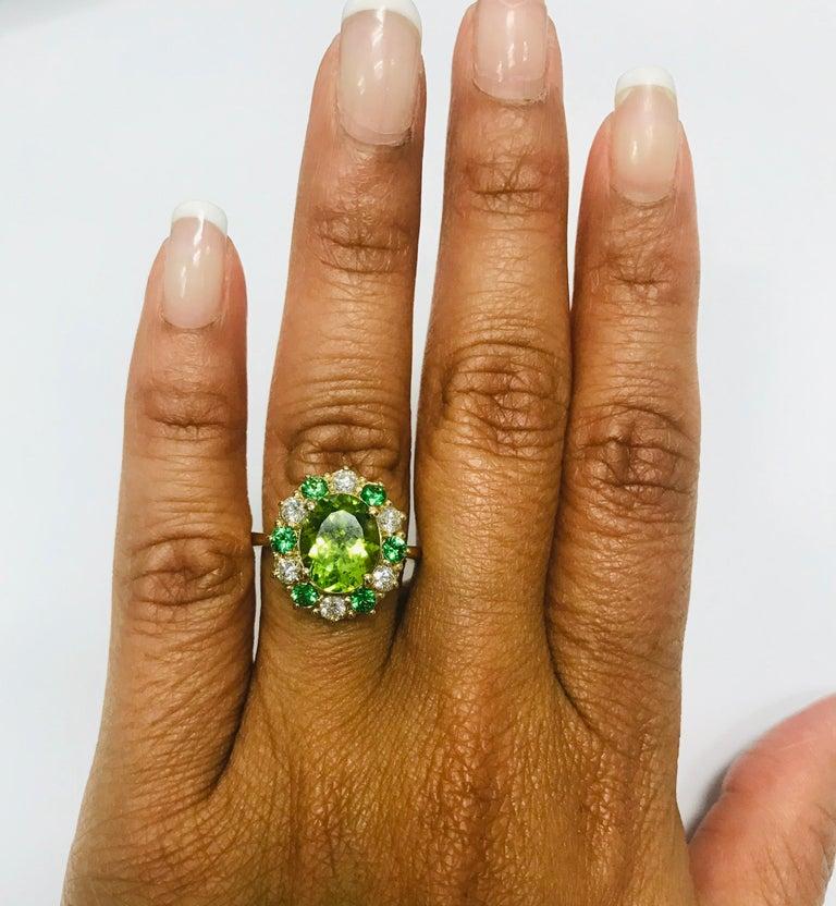 4.13 Carat Peridot Diamond Tsavorite 14 Karat Yellow Gold Engagement Ring In New Condition In San Dimas, CA