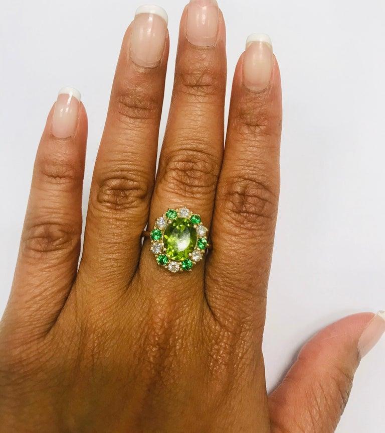 Women's 4.13 Carat Peridot Diamond Tsavorite 14 Karat Yellow Gold Engagement Ring