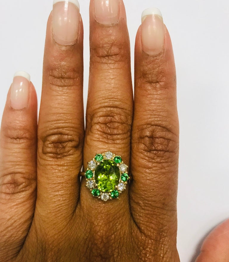 4.13 Carat Peridot Diamond Tsavorite 14 Karat Yellow Gold Engagement Ring 1