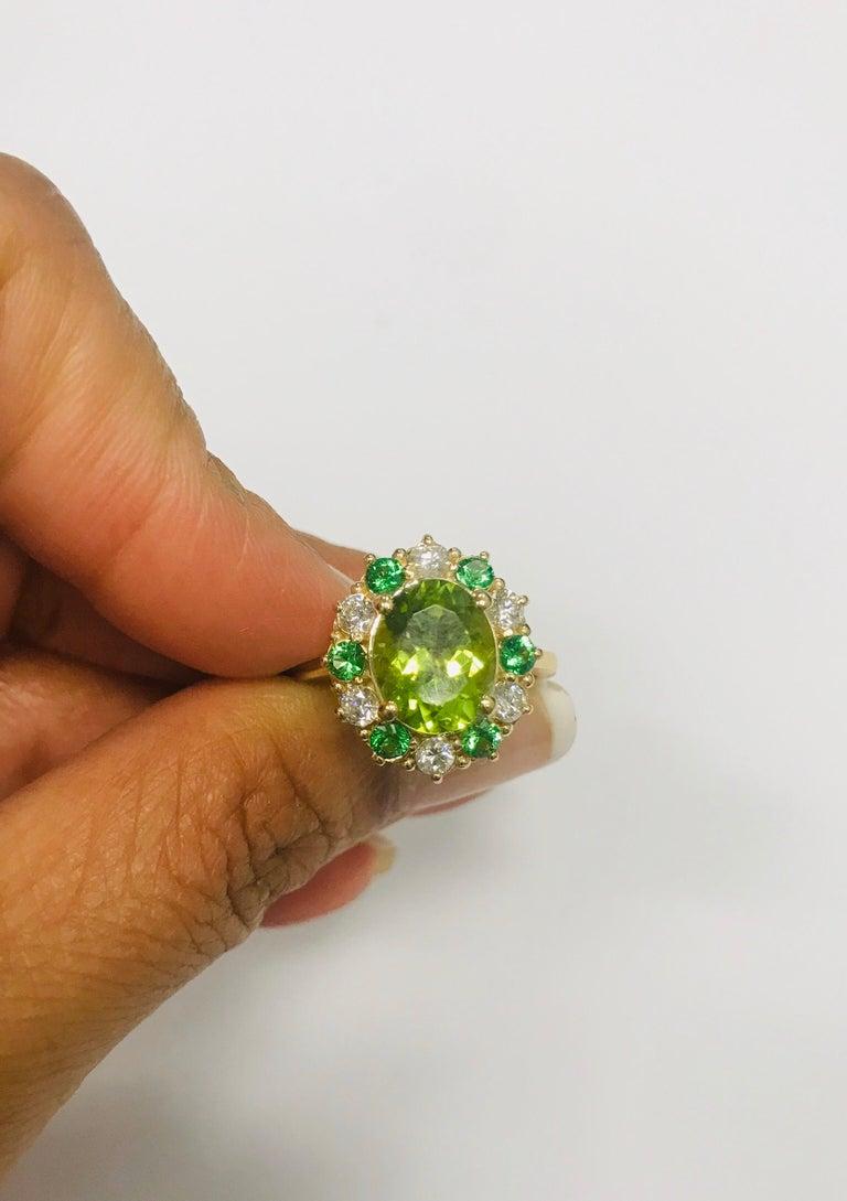 4.13 Carat Peridot Diamond Tsavorite 14 Karat Yellow Gold Engagement Ring 2