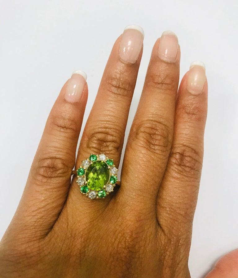 4.13 Carat Peridot Diamond Tsavorite 14 Karat Yellow Gold Engagement Ring 3