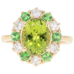 4.13 Carat Peridot Diamond Tsavorite 14 Karat Yellow Gold Engagement Ring