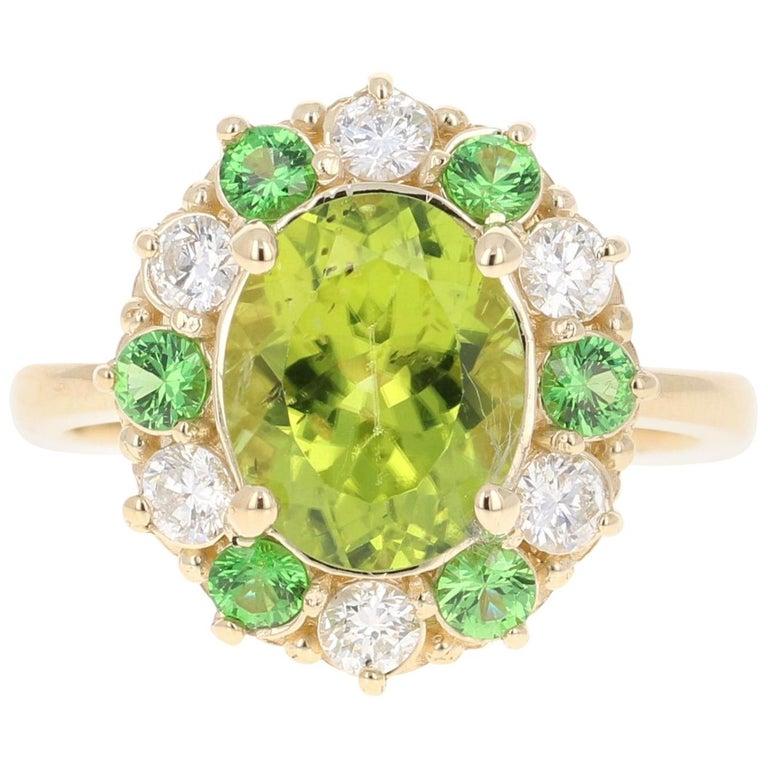 4.13 Carat Peridot Diamond Tsavorite 14 Karat Yellow Gold Engagement Ring