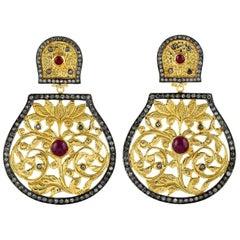 Ruby Diamond 18 Karat Gold Lotus Earrings