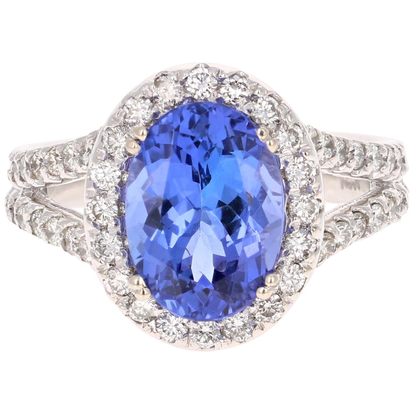 4.13 Carat Tanzanite Diamond 14 Karat White Gold Ring
