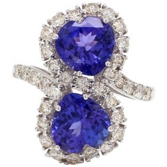 4.13 Carat Tanzanite Diamond 18 Karat Gold Heart Wrap Ring