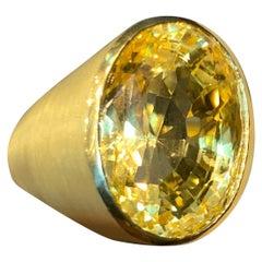 41.33 Carat Natural Yellow Sapphire Gold Men's Ring