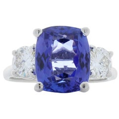 4.14 Carat Cushion Cut Tanzanite and Diamond White Gold Cocktail Ring